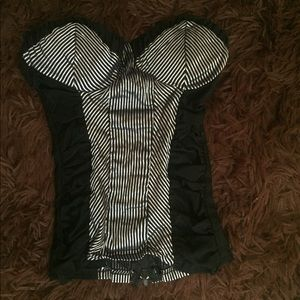 Tops - SALE 3 for $30 Black and White Corset Top